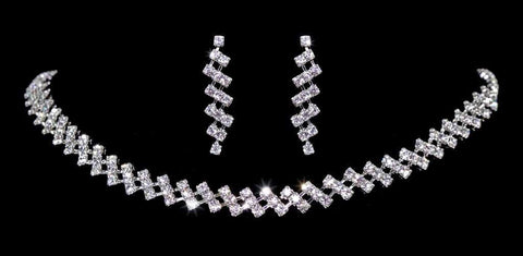 Necklace Sets - Low price #14282 - Zig Zag Rhinestone Neck and Ear Set