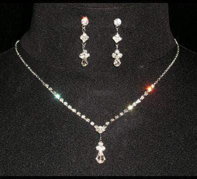 Necklace Sets - Low price #14434 Simple Drop Crystal Bead Necklace Set