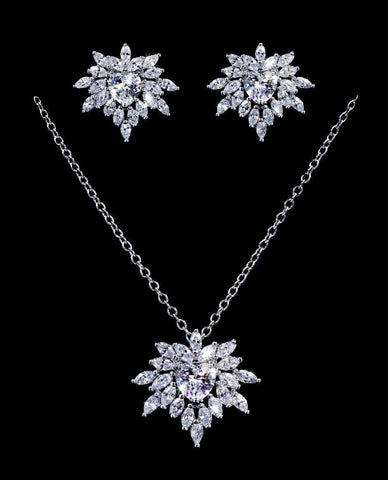 Necklace Sets - Low price #16807 - Heart Blossom CZ Necklace and Earring Set