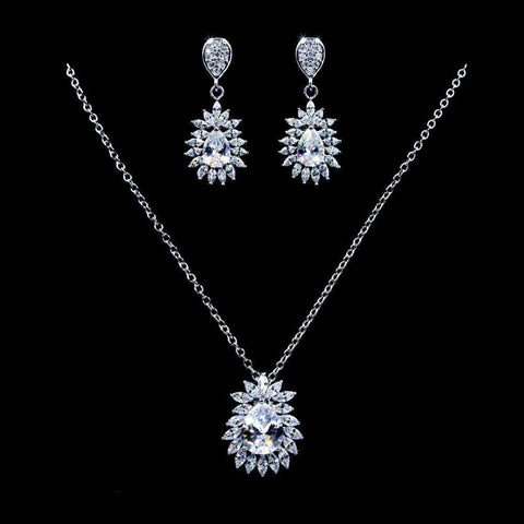 Necklace Sets - Low price #16808 - Blooming Pear CZ Necklace and Earring Set