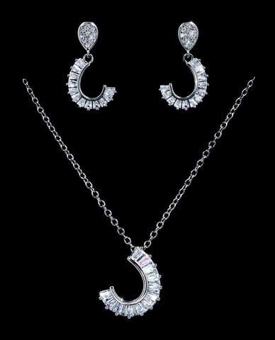 Necklace Sets - Low price #16809 - Horse Shoe Drop CZ Necklace and Earring Set