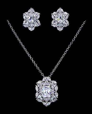 Necklace Sets - Low price #16810 - Intricate Octagon Marquis CZ Necklace and Earring Set