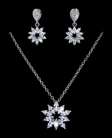 Necklace Sets - Low price #16811 - Daisy Drop CZ Necklace and Earring Set
