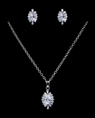 Necklace Sets - Low price #16812 - Navette Blast CZ Necklace and Earring Set