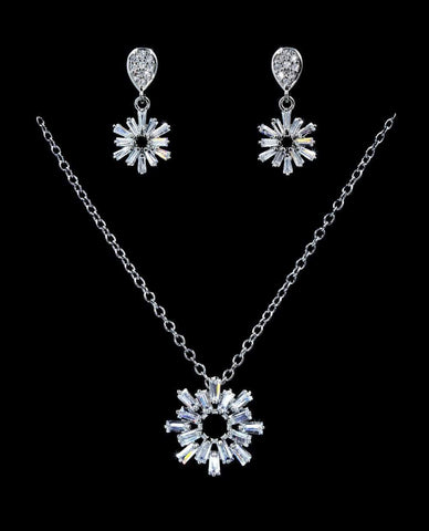 Necklace Sets - Low price #16814 - Snowflake Drop CZ Necklace and Earring Set