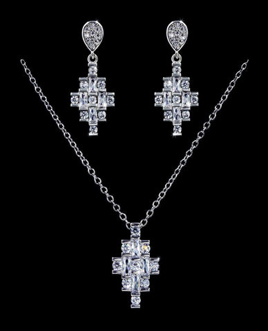 Necklace Sets - Low price #16815 - Geometric Drop CZ Necklace and Earring Set
