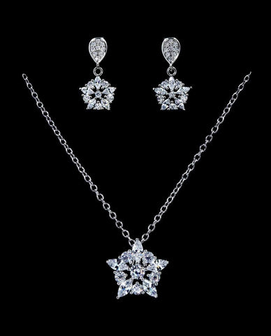 Necklace Sets - Low price #16820 - CZ Starburst Drop Necklace and Earring Set