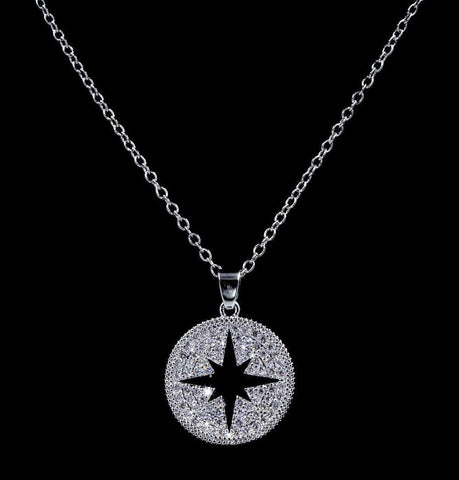 Necklace Sets - Low price #16821 - Glittering CZ Northstar Medallion Necklace