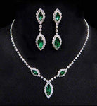Necklace Sets - Low price #6983 - Triple Navette Drop Necklaces and Ear Set - Emerald