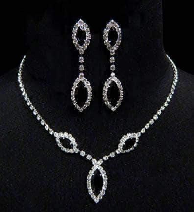 Necklace Sets - Low price #6983 - Triple Navette Drop Necklaces and Ear Set - Jet
