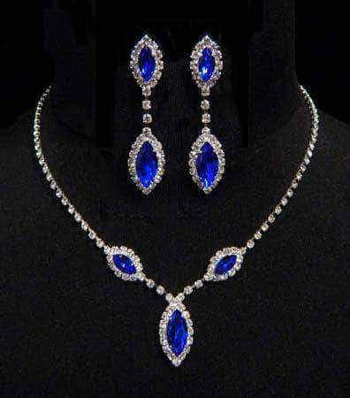Necklace Sets - Low price #6983 - Triple Navette Drop Necklaces and Ear Set - Sapphire