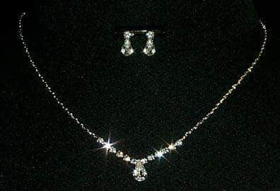 Necklace Sets - Low price Pear Drop Rhinestone Necklace and Earring Set - #10424