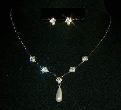Necklace Sets - Low price Pearl Drop Necklace and Earring Set - #9614