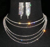 Necklaces - Bibs #14472 - 5 row Cascading Necklace and Earring Set