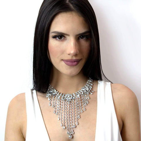 Necklaces - Bibs #16981 - Cascading Statement Choker Necklace
