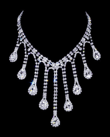 Necklaces - Bibs #16982 - Dripping Rhinestone Necklace