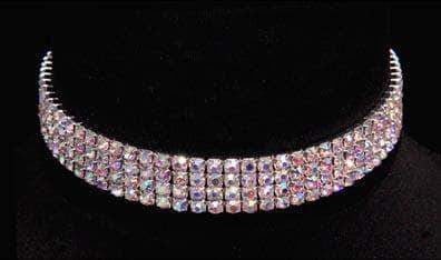 Necklaces - Collars #12203ABS - 4 Row Stretch Rhinestone Necklace (Iridescent Stones)- AB Silver