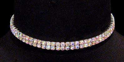 Necklaces - Collars #12204ABS - 2 Row Stretch Rhinestone Necklace (Iridescent Stones)- AB Silver