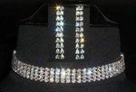 Necklaces - Collars #12208 4 Row Rhinestone Choker and Earring Set