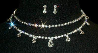 Necklaces - Collars #12872 - 2 Row Marquis Stone Necklace and Earring Set
