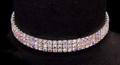Necklaces - Collars #13332ABS - 3 Row Stretch Rhinestone Necklace - (Iridescent Stones) AB Silver