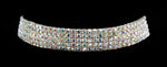 Necklaces - Collars #15960 - 5 Row Stretch Rhinestone Necklace - AB Silver