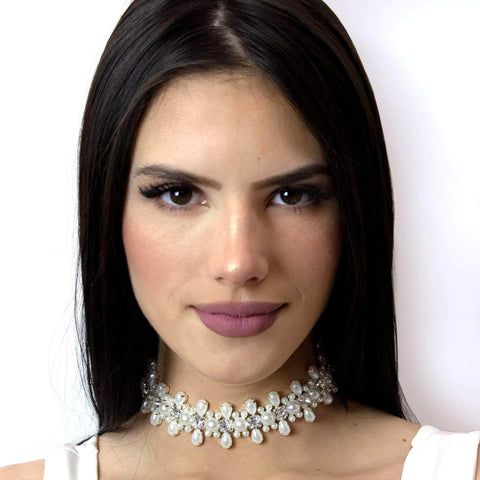 Necklaces - Collars #16712 - Stretch Pearl Cluster Choker