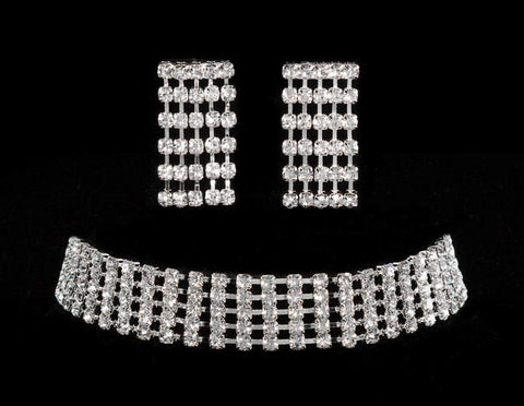 Necklaces - Collars 5 Row Adjustable Rhinestone Choker