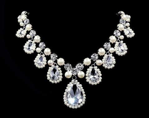 Necklaces - Midsize #16544 - The Majestic Mary Pearl Accented Statement Necklace