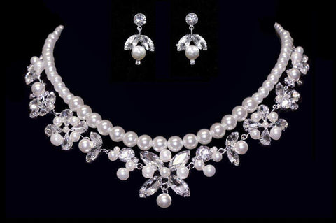 Necklaces - Midsize #16562 - Pearl and Crystal Diamond Shape Statement Necklace and Earring Set