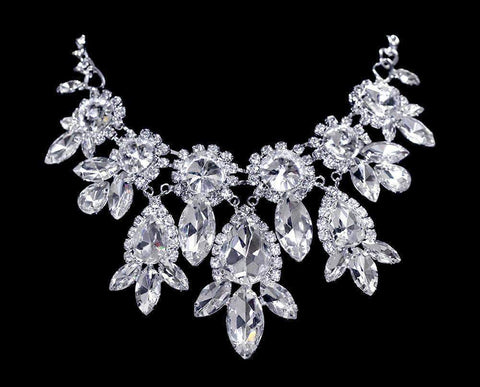 Necklaces - Midsize #16698 - Bouquet Statement Rhinestone Collar Necklace