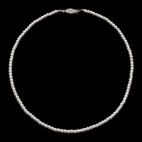 Pearl Neck & Ears #9585-18 - 4mm Simulated White Pearl Necklace - 18""