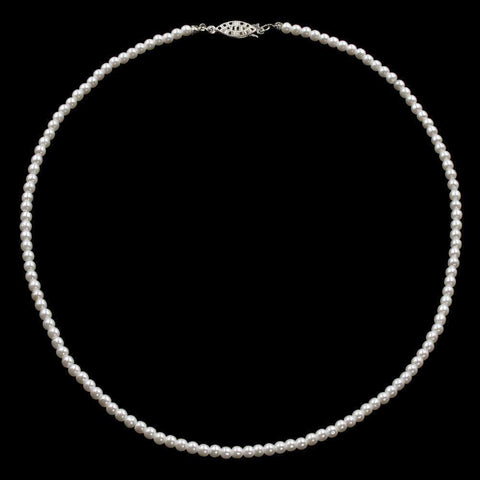 Pearl Neck & Ears #9585-20 - 4mm Simulated White Pearl Necklace - 20""