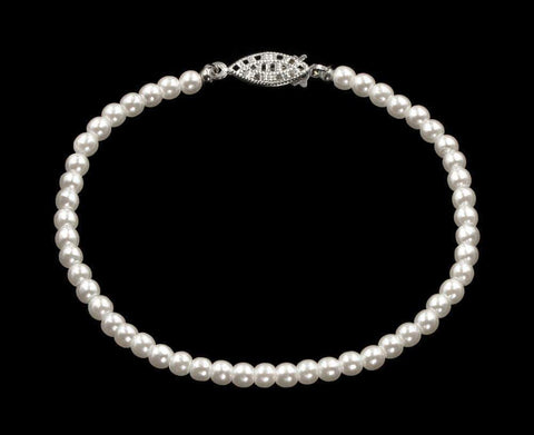 Pearl Neck & Ears #9585-8 - 4mm Simulated White Pearl Bracelet - 8""
