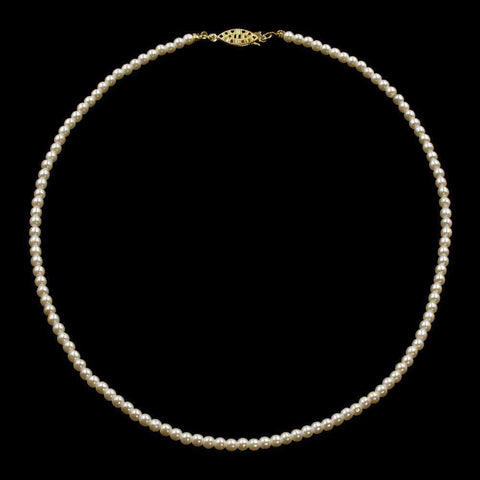 Pearl Neck & Ears #9586-18 - 4mm Simulated Ivory Pearl Necklace - 18""