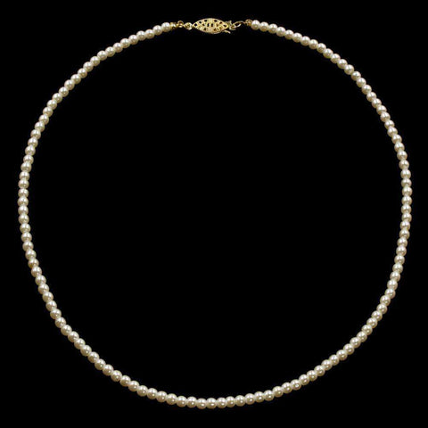 Pearl Neck & Ears #9586-20 - 4mm Simulated Ivory Pearl Necklace - 20""