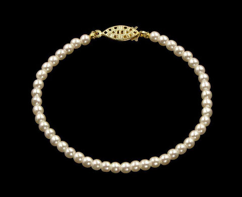 Pearl Neck & Ears #9586-8 - 4mm Simulated Ivory Pearl Bracelet - 8""