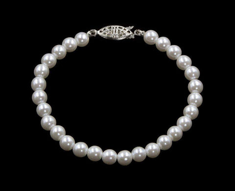 Pearl Neck & Ears #9587-725 - 6mm Simulated White Pearl Bracelet - 7.25""