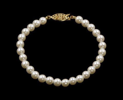 Pearl Neck & Ears #9588-725 - 6mm Simulated Ivory Pearl Bracelet - 7.25""