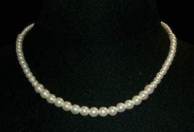 Pearl Neck & Ears #9590-16 - Graduated Simulated Ivory Pearl Necklace - 16""