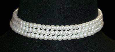 "Pearl Neck & Ears #9777 - 3 Row 6mm White Simulated Pearl Necklace - 12""-15.5"" Adjustable"