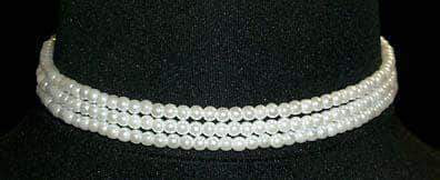"Pearl Neck & Ears #9778 - 3 Row 4mm White Simulated Pearl Necklace-11.5""-14.75"" Adj"