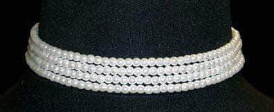 "Pearl Neck & Ears #9779 - 4 Row 4mm White Simulated Pearl Necklace - 11.5""-14.75"" Adjustable"