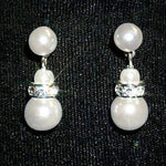 Pearl Neck & Ears #9879 - 6mm Simulated White Pearl and Rhinestone Spacer Earring