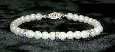 Pearl Neck & Ears #9880 - 6mm Simulated White Pearl and Rhinestone Spacers Bracelets - 8""