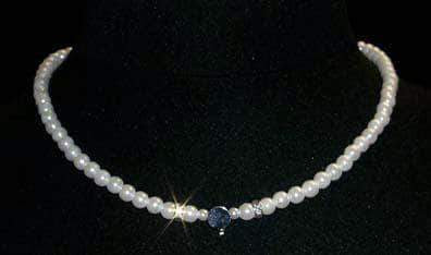 Pearl Neck & Ears #9881 - 6mm Simulated White Pearl and Rhinestone Spacers Necklace with a Disk to Glue Your Own Centerpiece- 16""