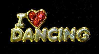 Pins - Dance/Music #13461 Rhinestone Casted I Love Dancing Pin