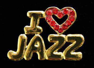 Pins - Dance/Music #13465 Rhinestone Casted I Love Jazz Pin