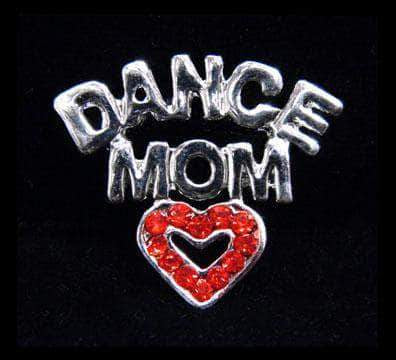 Pins - Dance/Music #13472 Rhinestone Casted Dance Mom with Heart Pin - Silver Plated