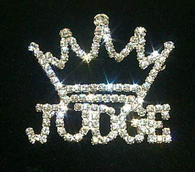 Pins - Pageant & Crown #11883 Rhinestone Judge with Crown Pin